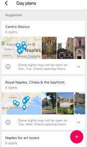 Google Trips - Day plans