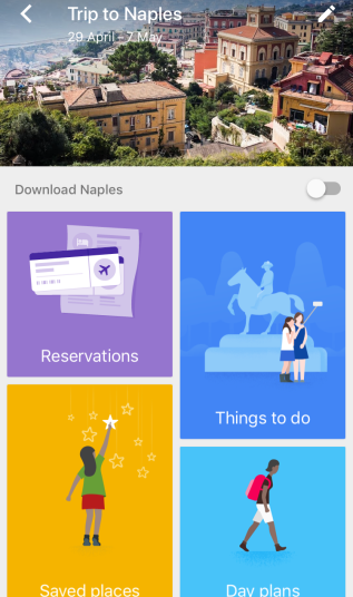 Google Trips - Inside a trip